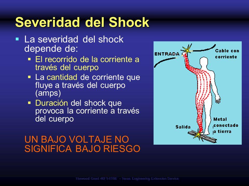 Harwood Grant 46F1-HT06 - Texas Engineering Extension Service Peligros del Shock Eléctrico Corrientes de mas de 10 mA* pueden paralizar o congelar los músculos Corrientes de más de 75 mA pueden causar un latido del corazón rápido e inefectivo Produce la muerte en pocos minutos a menos que se use un desfibrilador 75 mA no es mucha corriente (una pequeña perforadora eléctrica usa 30 veces esa cantidad) * mA = miliamperio = 1/1,000 de amperio Uso del Desfibrilador