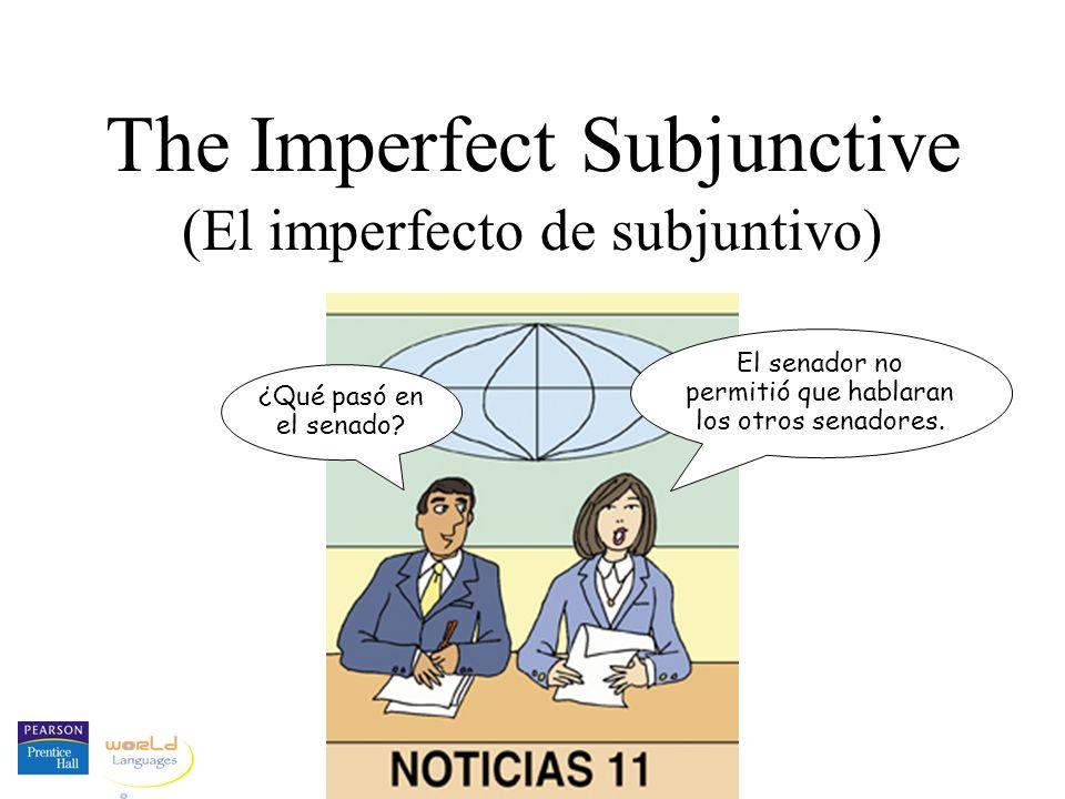 The Imperfect Subjunctive (El imperfecto de subjuntivo) ¿Qué pasó en el senado? El senador no permitió que hablaran los otros senadores.