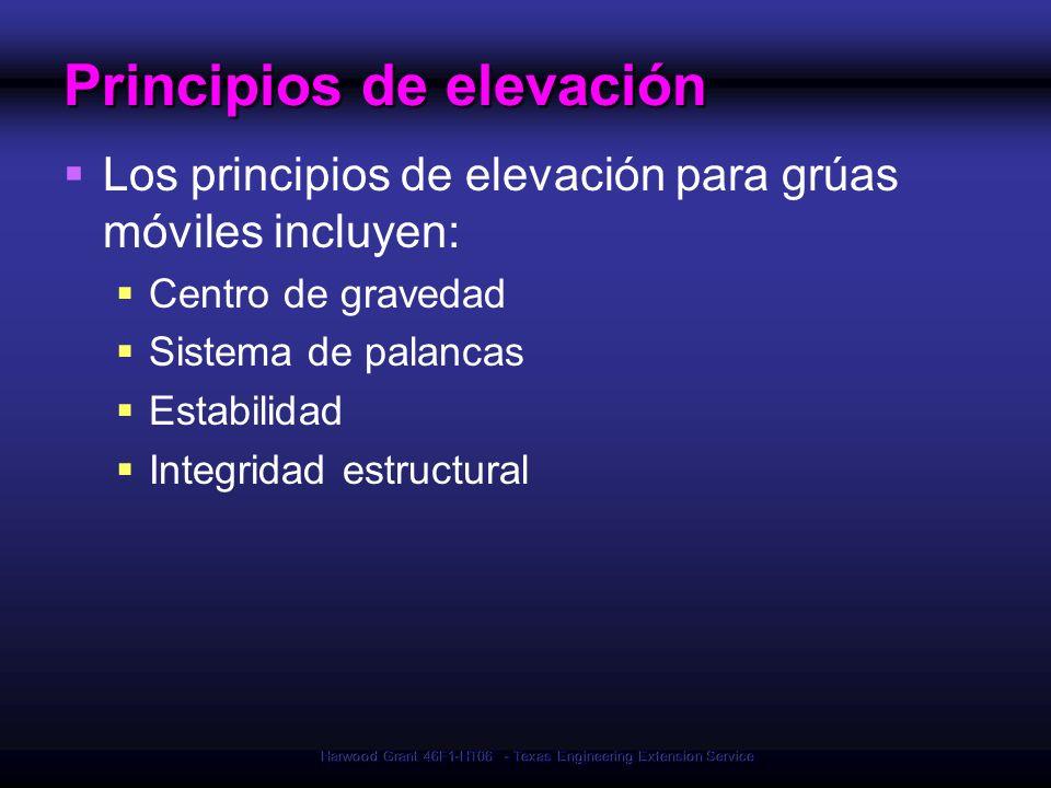 Harwood Grant 46F1-HT06 - Texas Engineering Extension Service Principios de elevación Los principios de elevación para grúas móviles incluyen: Centro