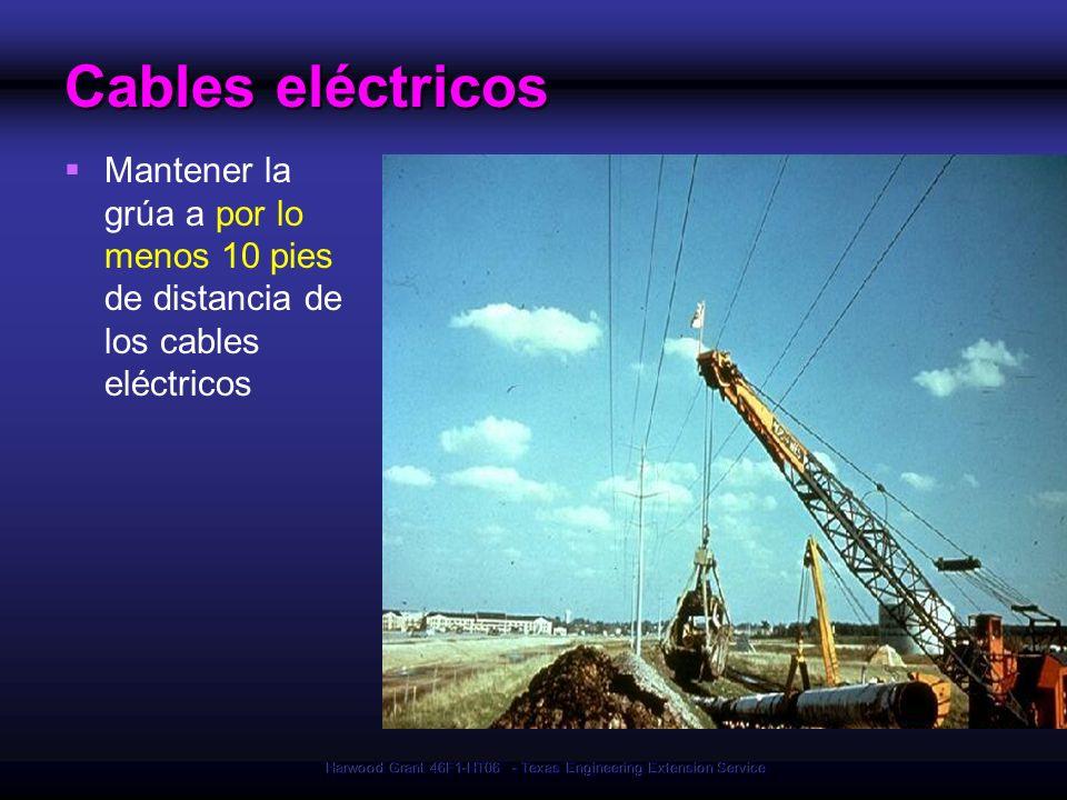 Harwood Grant 46F1-HT06 - Texas Engineering Extension Service Cables eléctricos Mantener la grúa a por lo menos 10 pies de distancia de los cables elé