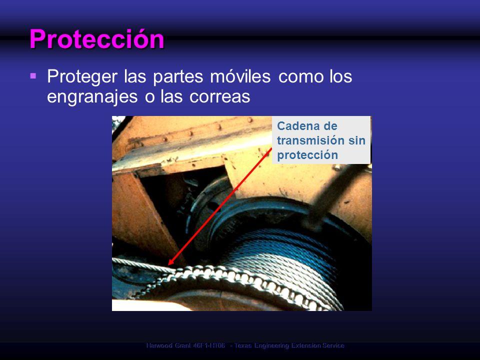 Harwood Grant 46F1-HT06 - Texas Engineering Extension Service Cadena de transmisión sin protecciónProtección Proteger las partes móviles como los engr