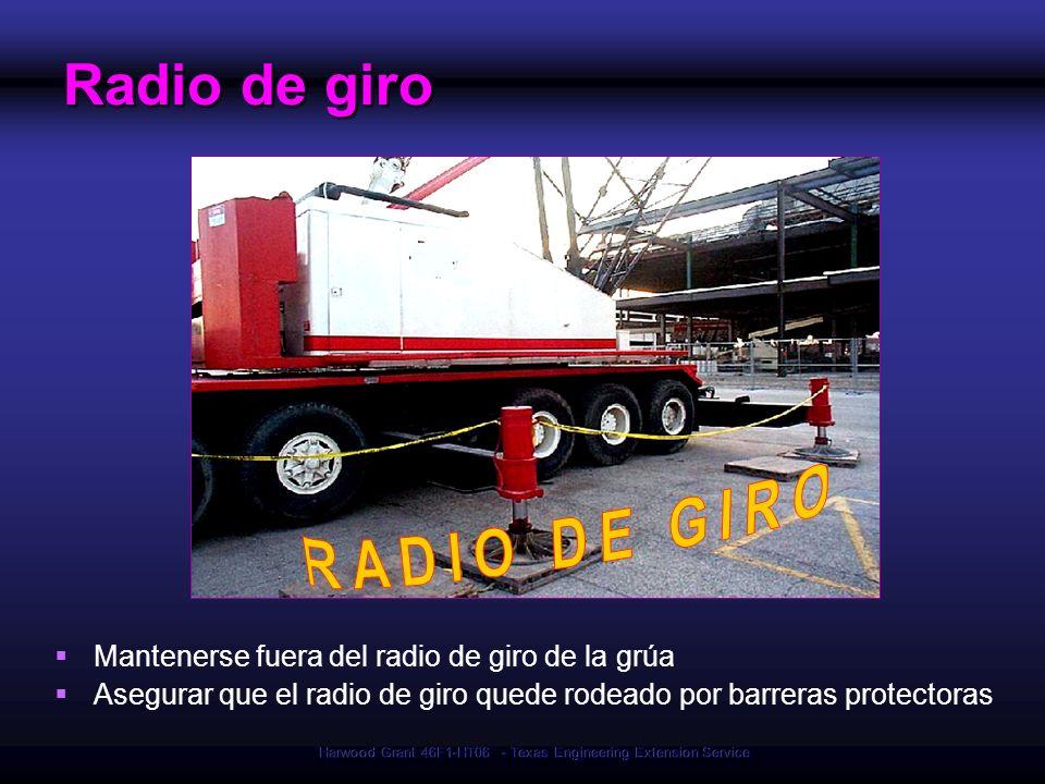 Harwood Grant 46F1-HT06 - Texas Engineering Extension Service Radio de giro Mantenerse fuera del radio de giro de la grúa Asegurar que el radio de gir