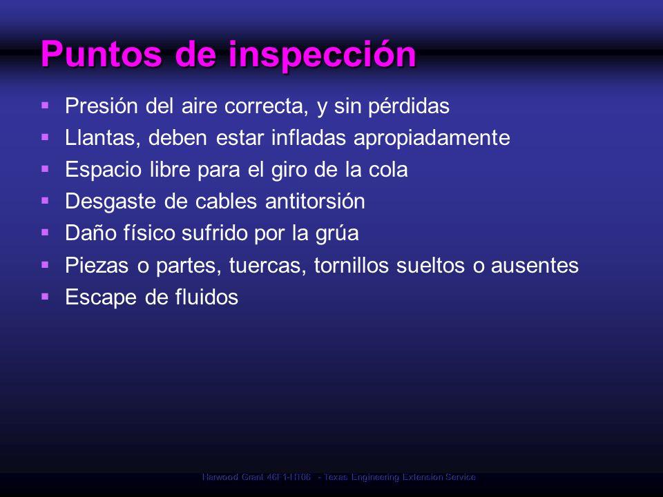 Harwood Grant 46F1-HT06 - Texas Engineering Extension Service Puntos de inspección Presión del aire correcta, y sin pérdidas Llantas, deben estar infl