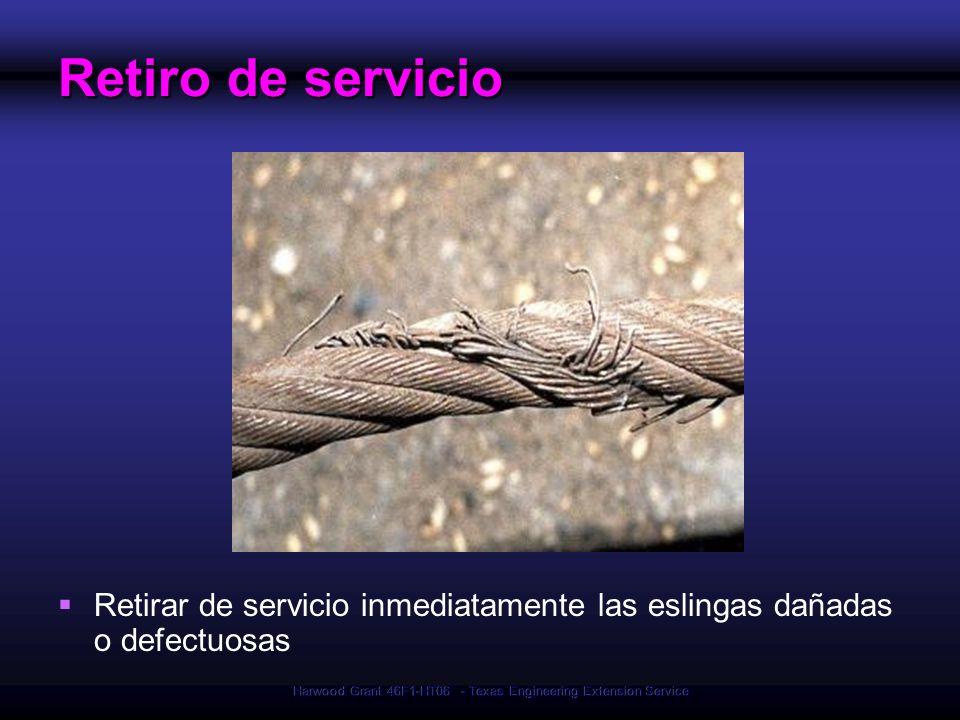 Harwood Grant 46F1-HT06 - Texas Engineering Extension Service Retiro de servicio Retirar de servicio inmediatamente las eslingas dañadas o defectuosas