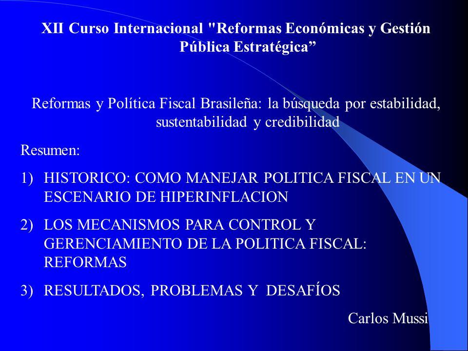 XII Curso Internacional Reformas Económicas y Gestión Pública Estratégica Reformas y Política Fiscal Brasileña: la búsqueda por estabilidad, sustentabilidad y credibilidad Resumen: 1)HISTORICO: COMO MANEJAR POLITICA FISCAL EN UN ESCENARIO DE HIPERINFLACION 2)LOS MECANISMOS PARA CONTROL Y GERENCIAMIENTO DE LA POLITICA FISCAL: REFORMAS 3)RESULTADOS, PROBLEMAS Y DESAFÍOS Carlos Mussi