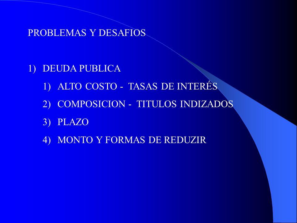 PROBLEMAS Y DESAFIOS 1)DEUDA PUBLICA 1)ALTO COSTO - TASAS DE INTERÉS 2)COMPOSICION - TITULOS INDIZADOS 3)PLAZO 4)MONTO Y FORMAS DE REDUZIR