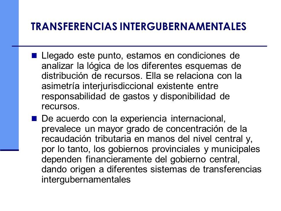 TRANSFERENCIAS INTERGUBERNAMENTALES Llegado este punto, estamos en condiciones de analizar la lógica de los diferentes esquemas de distribución de rec