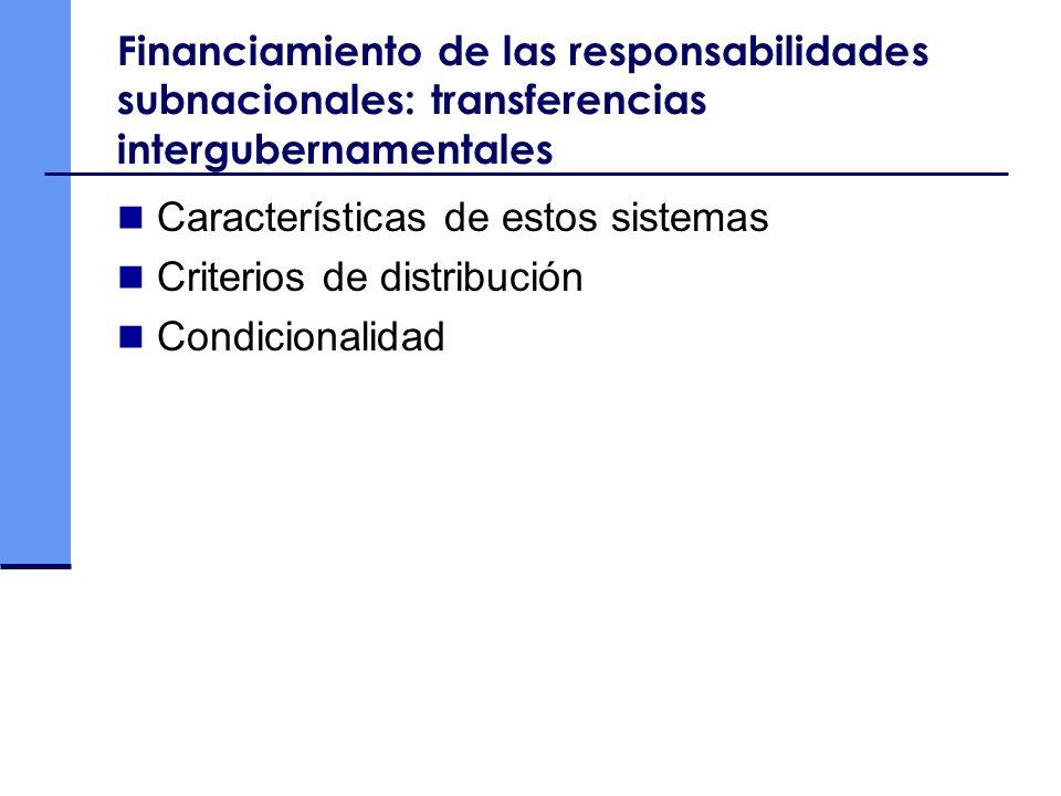 Financiamiento de las responsabilidades subnacionales: transferencias intergubernamentales Características de estos sistemas Criterios de distribución