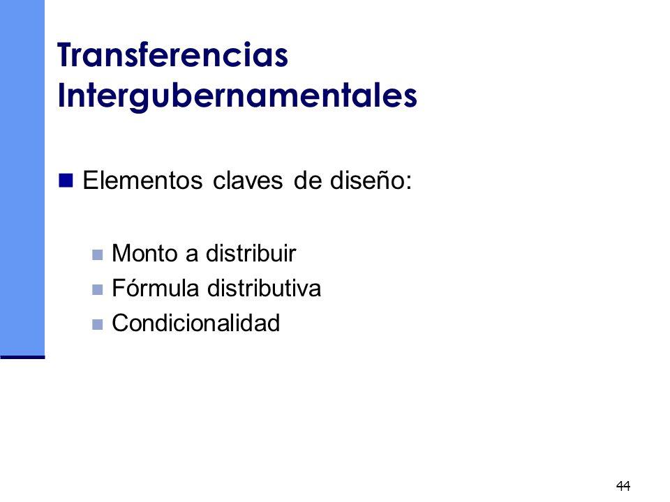 44 Transferencias Intergubernamentales Elementos claves de diseño: Monto a distribuir Fórmula distributiva Condicionalidad