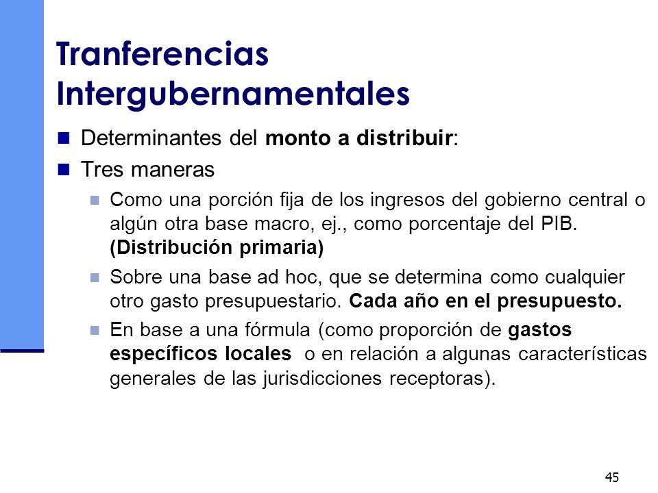 45 Tranferencias Intergubernamentales Determinantes del monto a distribuir: Tres maneras Como una porción fija de los ingresos del gobierno central o