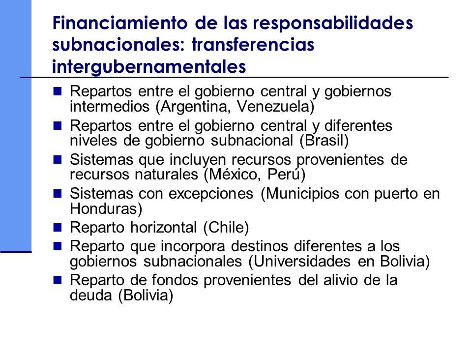 Financiamiento de las responsabilidades subnacionales: transferencias intergubernamentales Repartos entre el gobierno central y gobiernos intermedios