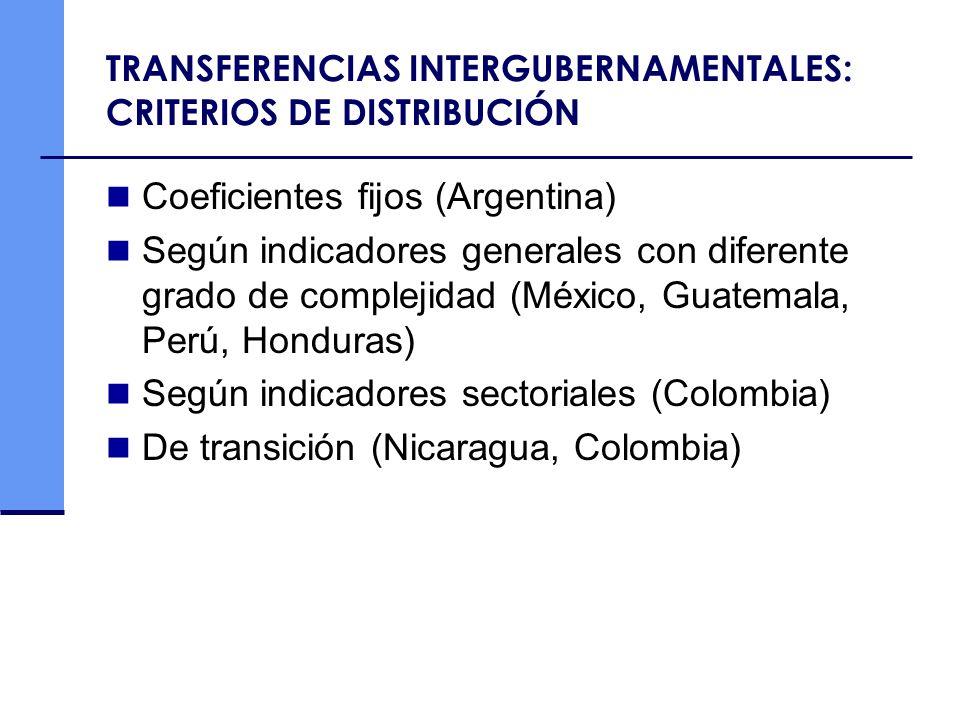 TRANSFERENCIAS INTERGUBERNAMENTALES: CRITERIOS DE DISTRIBUCIÓN Coeficientes fijos (Argentina) Según indicadores generales con diferente grado de compl
