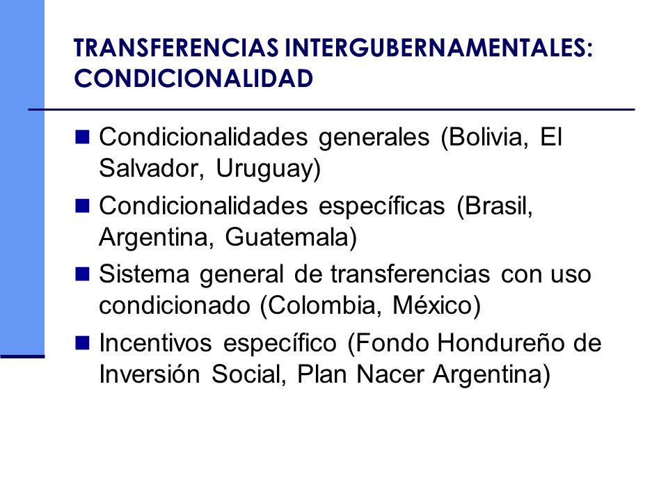 TRANSFERENCIAS INTERGUBERNAMENTALES: CONDICIONALIDAD Condicionalidades generales (Bolivia, El Salvador, Uruguay) Condicionalidades específicas (Brasil