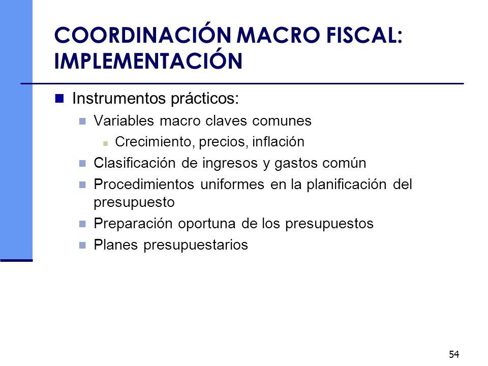 54 COORDINACIÓN MACRO FISCAL: IMPLEMENTACIÓN Instrumentos prácticos: Variables macro claves comunes Crecimiento, precios, inflación Clasificación de i
