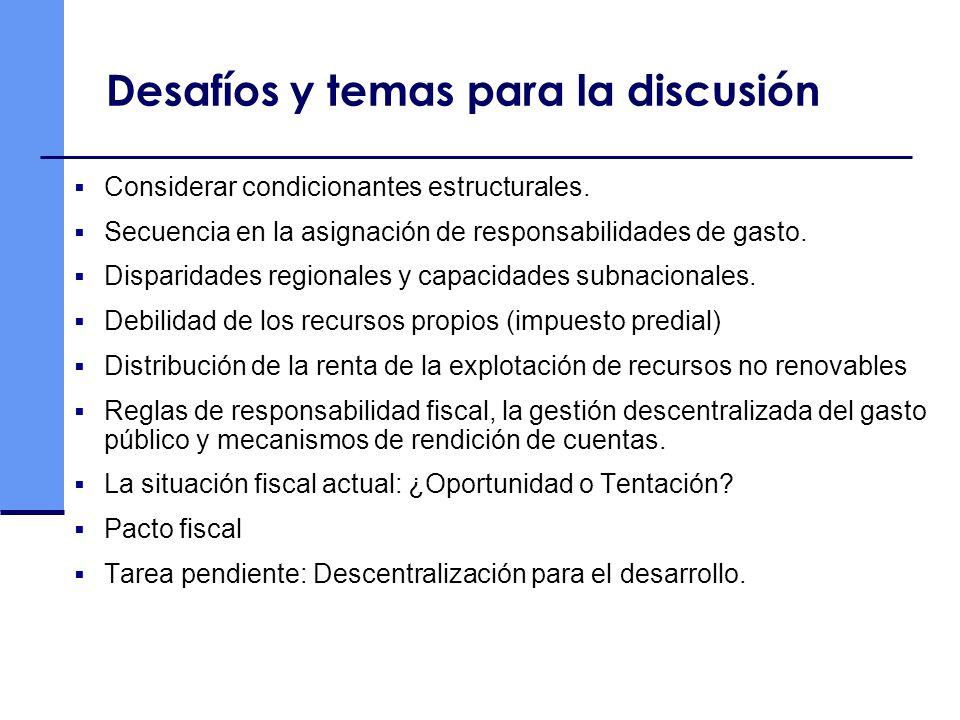 Desafíos y temas para la discusión Considerar condicionantes estructurales. Secuencia en la asignación de responsabilidades de gasto. Disparidades reg