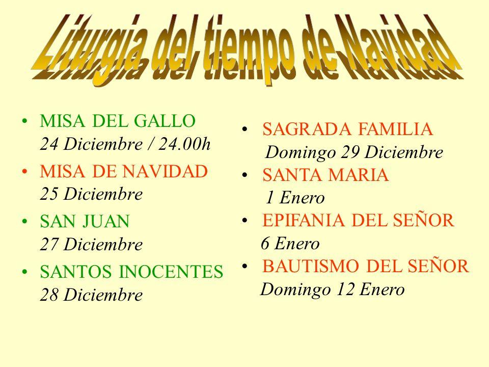MISA DEL GALLO 24 Diciembre / 24.00h MISA DE NAVIDAD 25 Diciembre SAN JUAN 27 Diciembre SANTOS INOCENTES 28 Diciembre SAGRADA FAMILIA Domingo 29 Dicie