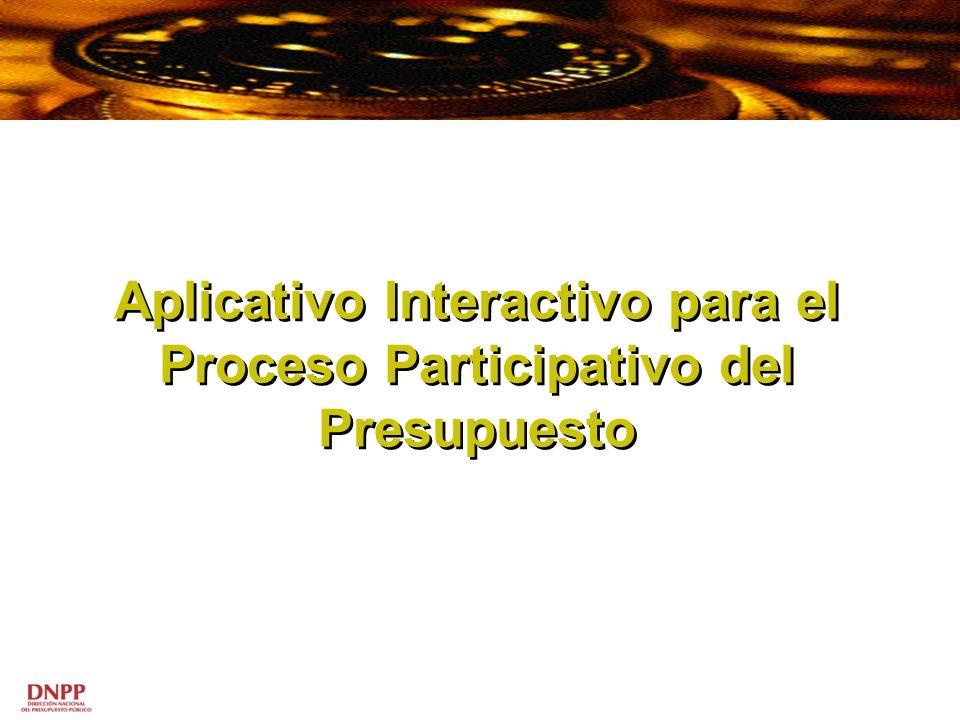 Aplicativo Interactivo para el Proceso Participativo del Presupuesto