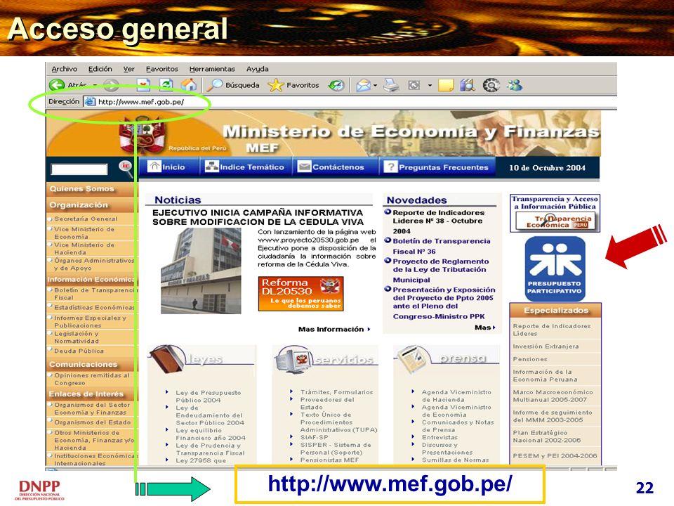 Acceso general 22 http://www.mef.gob.pe/