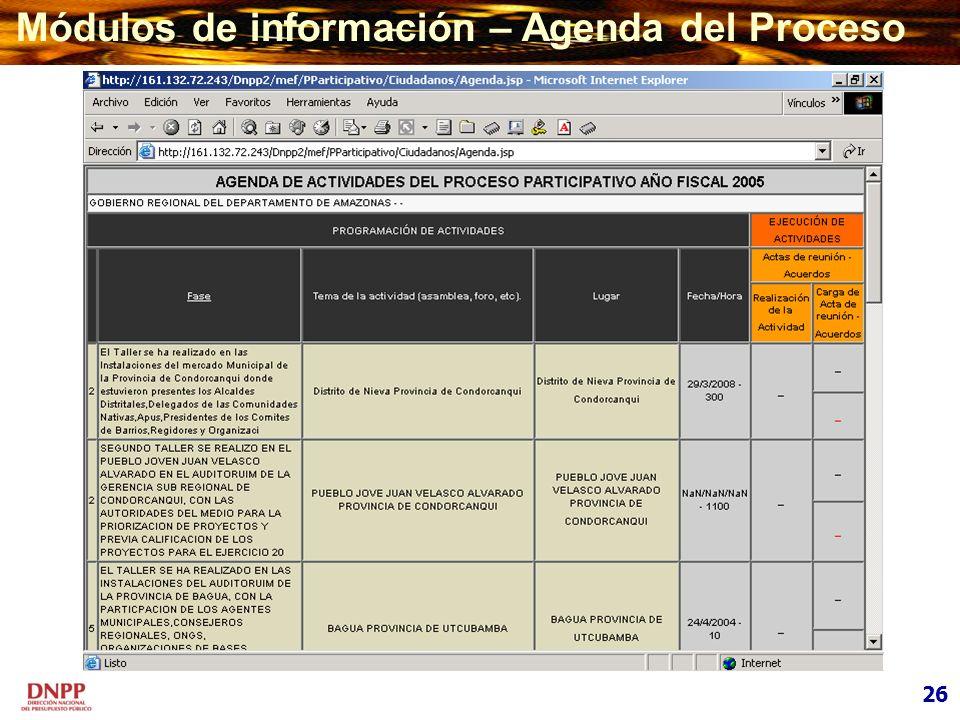 Módulos de información – Agenda del Proceso 26