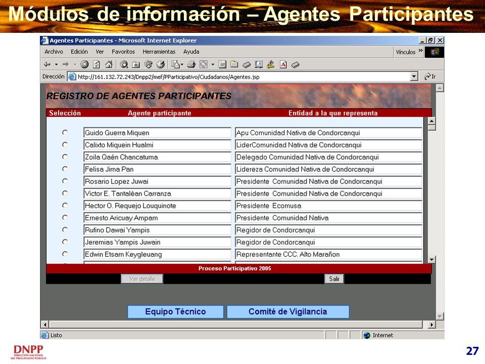 Módulos de información – Agentes Participantes 27