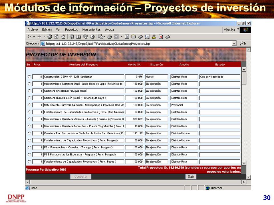 Módulos de información – Proyectos de inversión 30