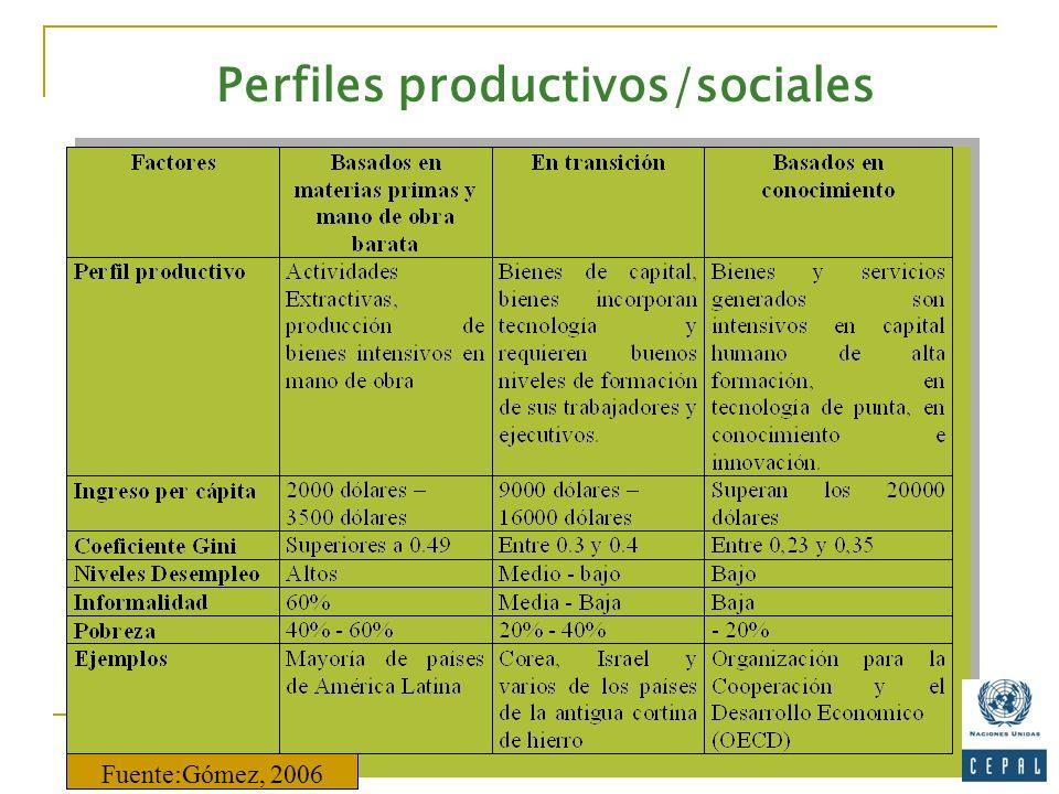 Perfiles productivos/sociales Fuente:Gómez, 2006