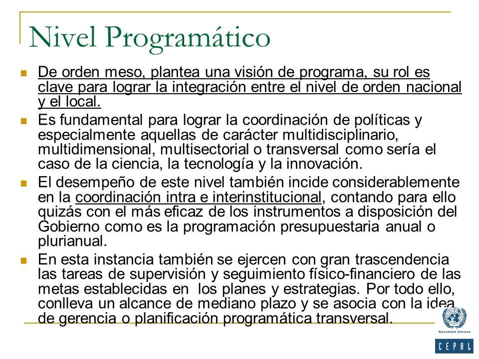 Nivel Programático De orden meso, plantea una visión de programa, su rol es clave para lograr la integración entre el nivel de orden nacional y el loc