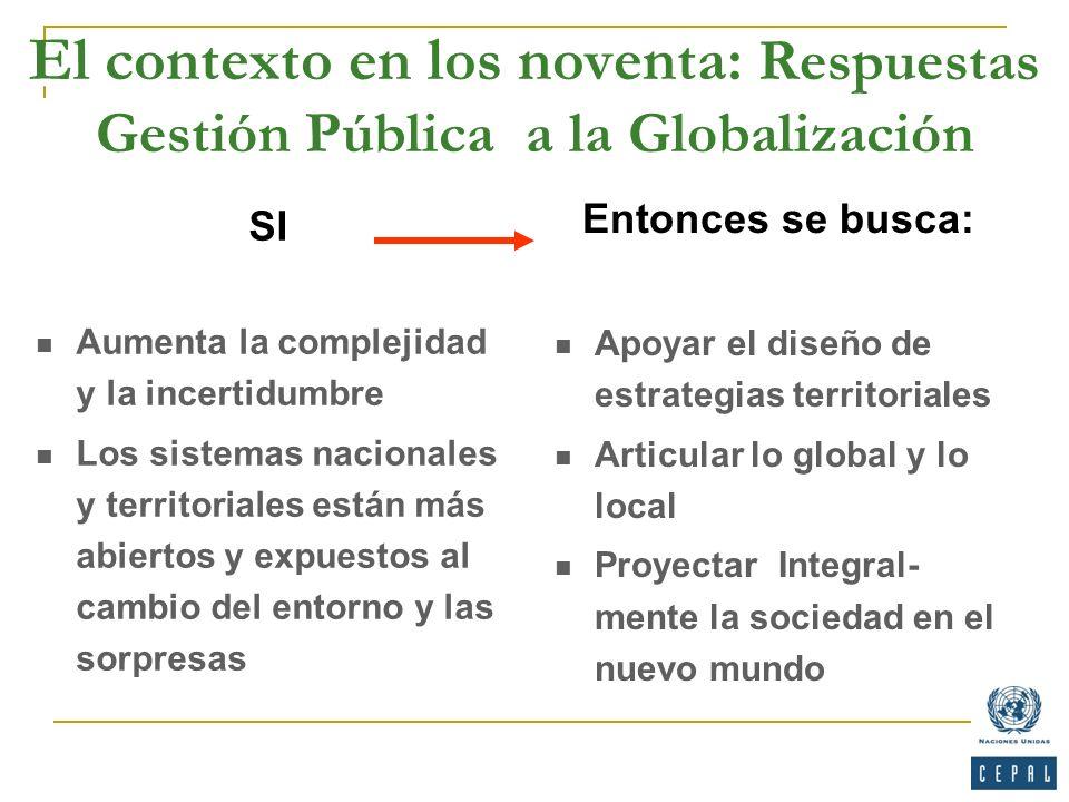 El contexto en los noventa: Respuestas Gestión Pública a la Globalización Entonces se busca: Apoyar el diseño de estrategias territoriales Articular l