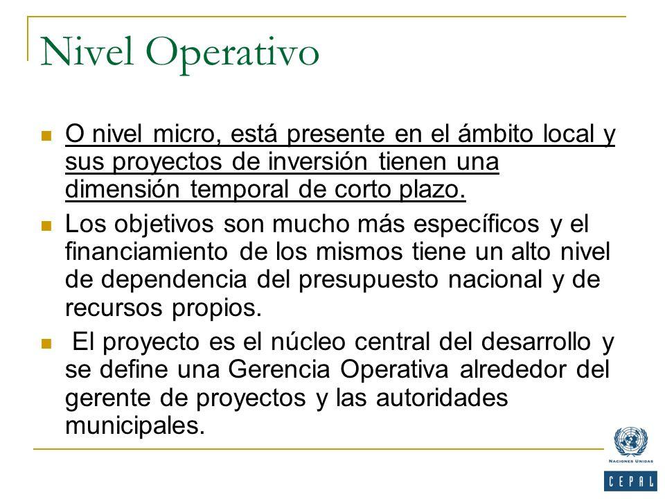 Nivel Operativo O nivel micro, está presente en el ámbito local y sus proyectos de inversión tienen una dimensión temporal de corto plazo. Los objetiv