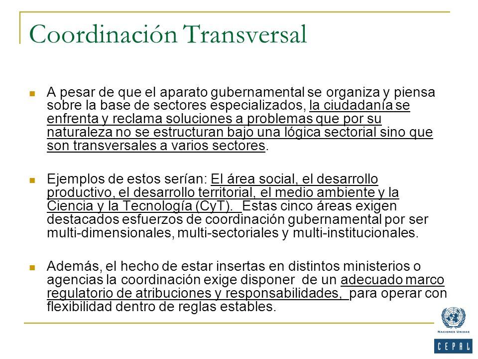 Coordinación Transversal A pesar de que el aparato gubernamental se organiza y piensa sobre la base de sectores especializados, la ciudadanía se enfre