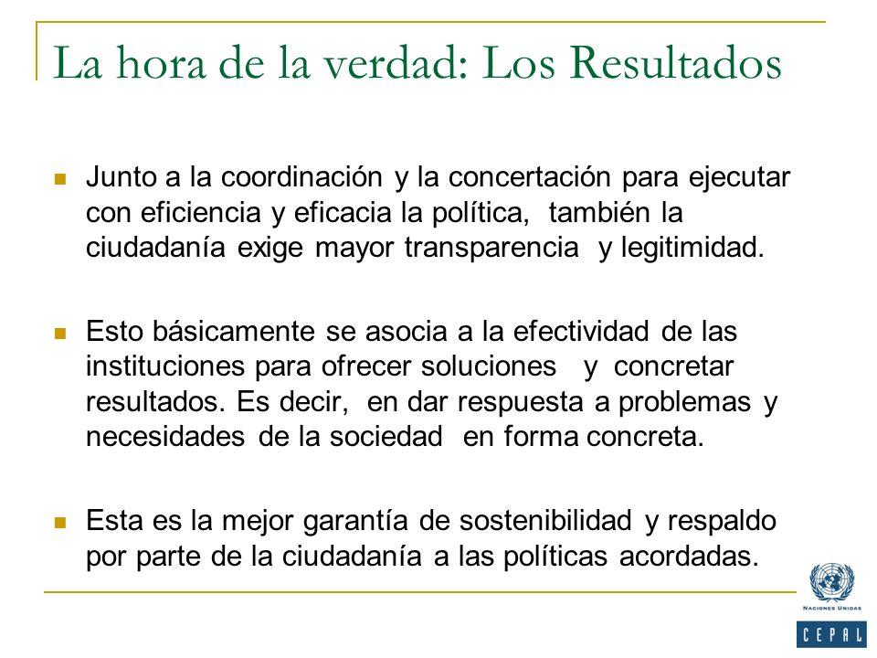 La hora de la verdad: Los Resultados Junto a la coordinación y la concertación para ejecutar con eficiencia y eficacia la política, también la ciudada
