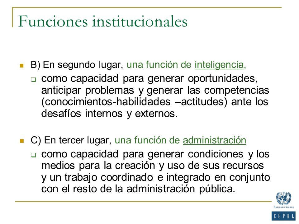 Funciones institucionales B) En segundo lugar, una función de inteligencia, como capacidad para generar oportunidades, anticipar problemas y generar l