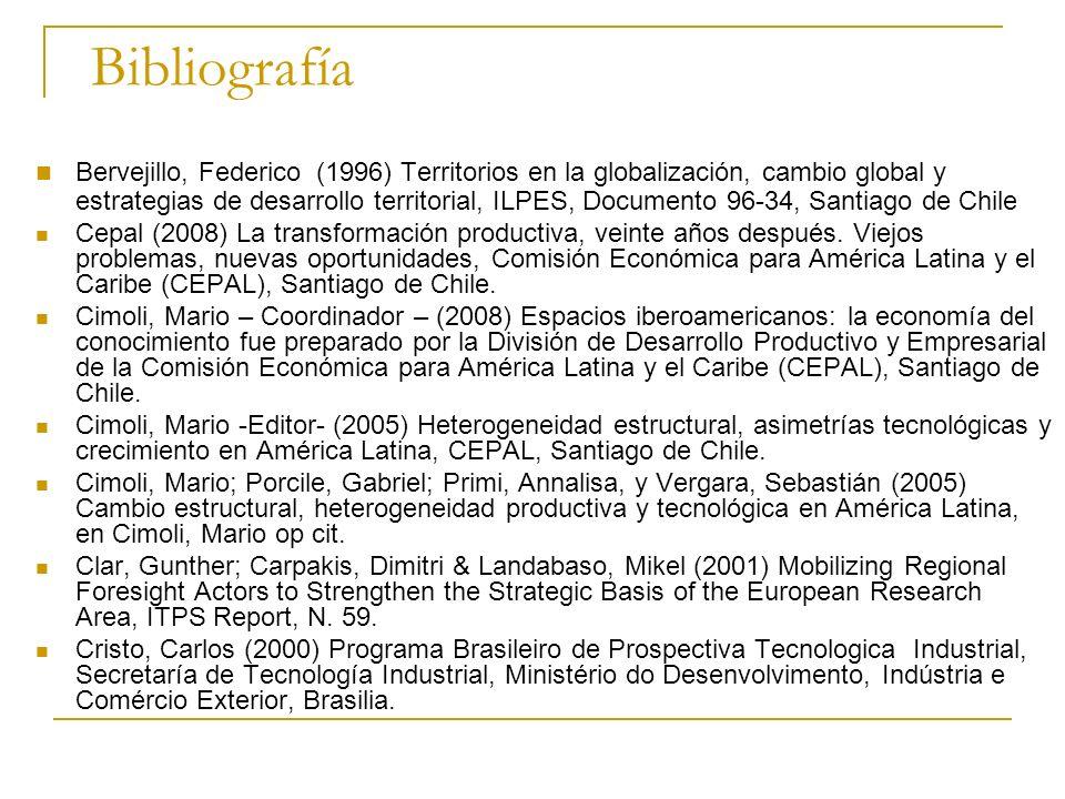 Bibliografía Bervejillo, Federico (1996) Territorios en la globalización, cambio global y estrategias de desarrollo territorial, ILPES, Documento 96-3