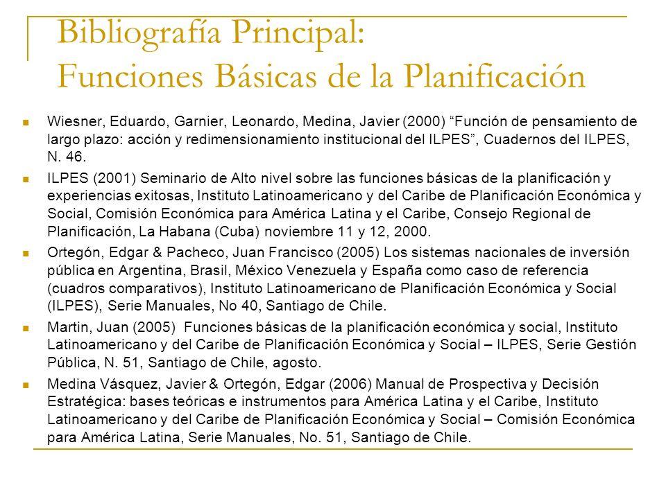 Bibliografía Principal: Funciones Básicas de la Planificación Wiesner, Eduardo, Garnier, Leonardo, Medina, Javier (2000) Función de pensamiento de lar