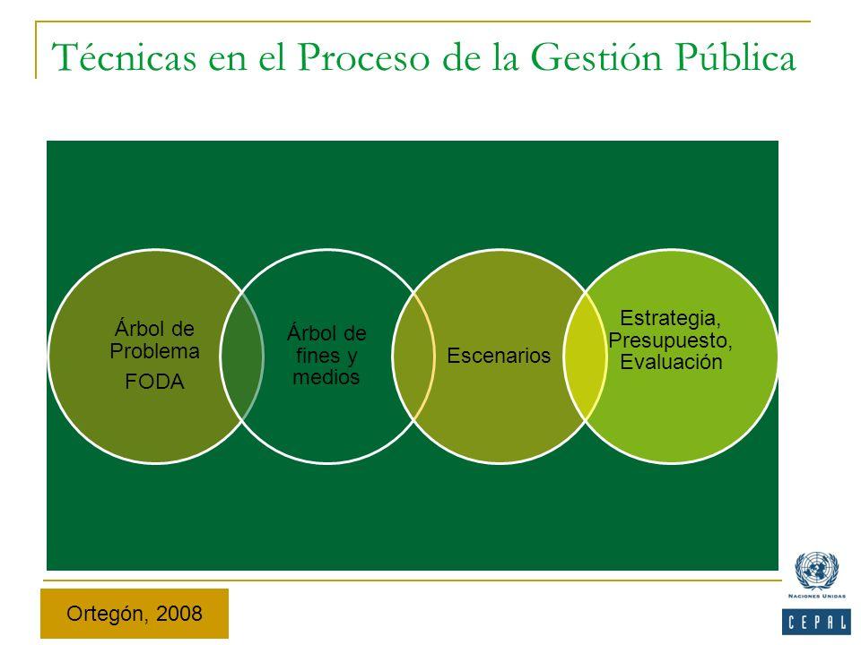 Técnicas en el Proceso de la Gestión Pública Árbol de Problema FODA Árbol de fines y medios Escenarios Estrategia, Presupuesto, Evaluación Ortegón, 20