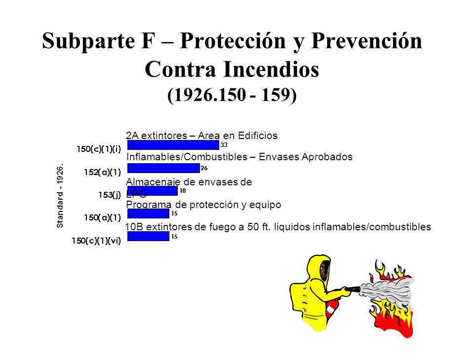 Subparte F – Protección y Prevención Contra Incendios (1926.150 - 159) Inflamables/Combustibles – Envases Aprobados Programa de protección y equipo 2A extintores – Area en Edificios Almacenaje de envases de LPG 10B extintores de fuego a 50 ft.