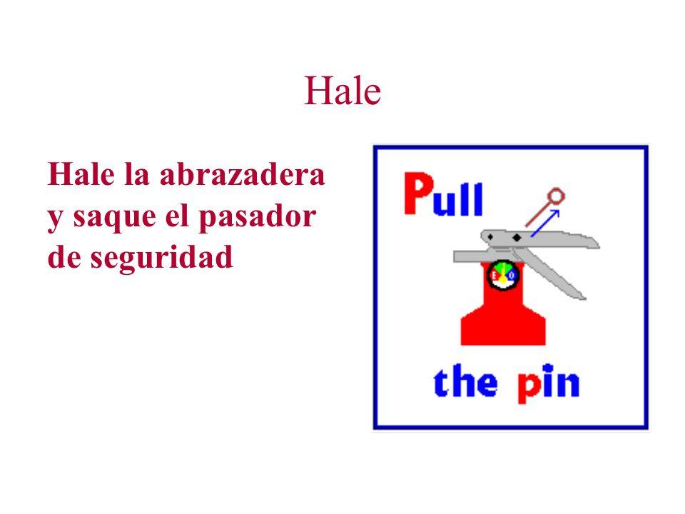 Como utilizar un Extintor de Fuego Portátil Hale el pasador de seguridad Apunte la manga y boquilla hacia la base de las llamas Apriete el gatillo man