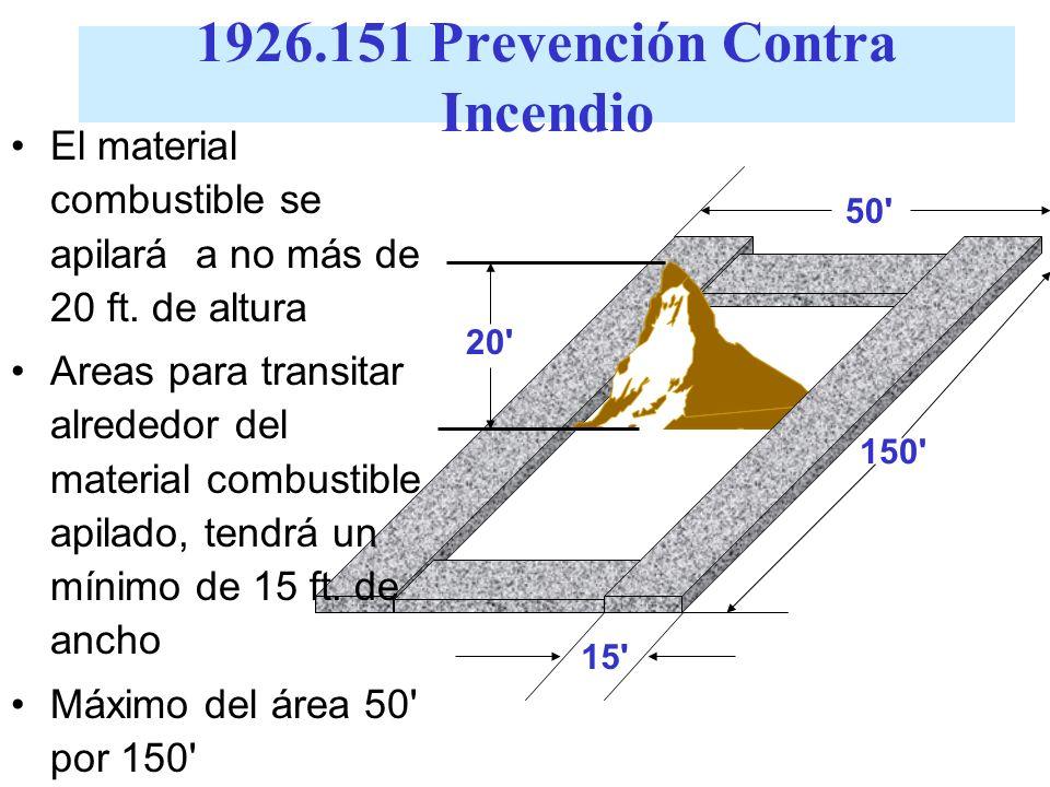 1926.151 Prevención Contra Incendios Alambrado eléctrico y equipo para luz eléctrica, calor y energía tienen que instalarse en cumplimiento con la sub