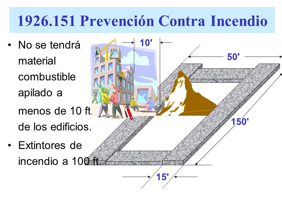 El material combustible se apilará a no más de 20 ft. de altura Areas para transitar alrededor del material combustible apilado, tendrá un mínimo de 1