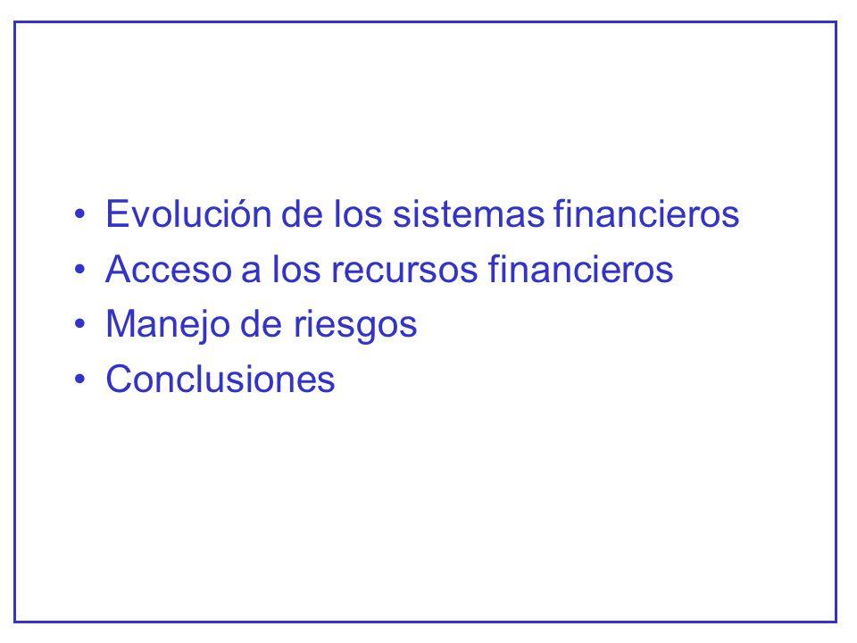 Evolución de los sistemas financieros Acceso a los recursos financieros Manejo de riesgos Conclusiones