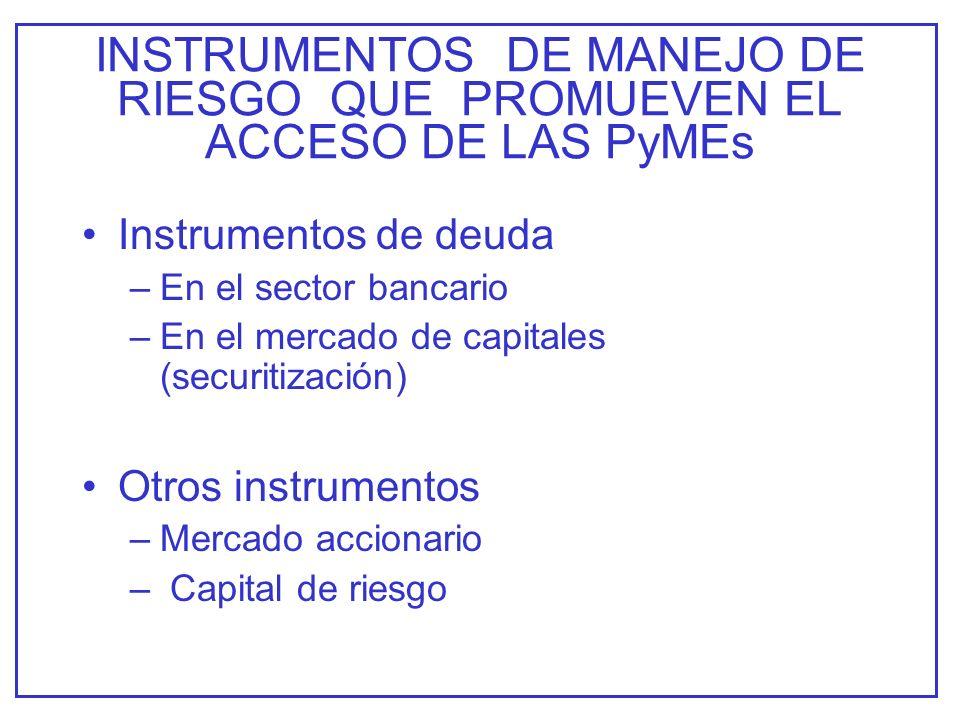 INSTRUMENTOS DE MANEJO DE RIESGO QUE PROMUEVEN EL ACCESO DE LAS PyMEs Instrumentos de deuda –En el sector bancario –En el mercado de capitales (securitización) Otros instrumentos –Mercado accionario – Capital de riesgo