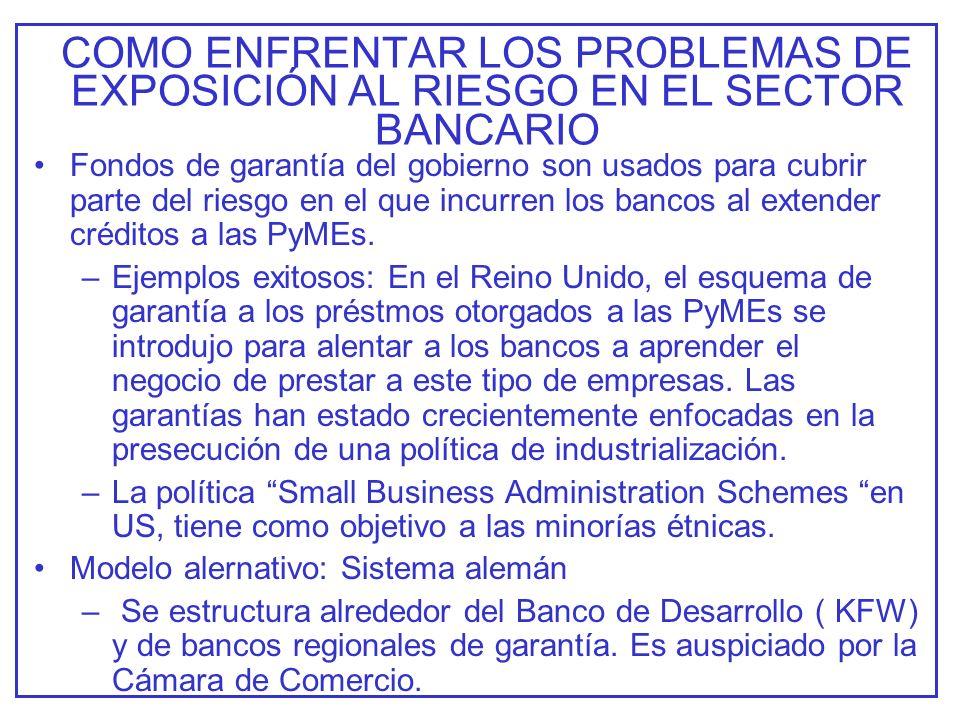 COMO ENFRENTAR LOS PROBLEMAS DE EXPOSICIÓN AL RIESGO EN EL SECTOR BANCARIO Fondos de garantía del gobierno son usados para cubrir parte del riesgo en el que incurren los bancos al extender créditos a las PyMEs.