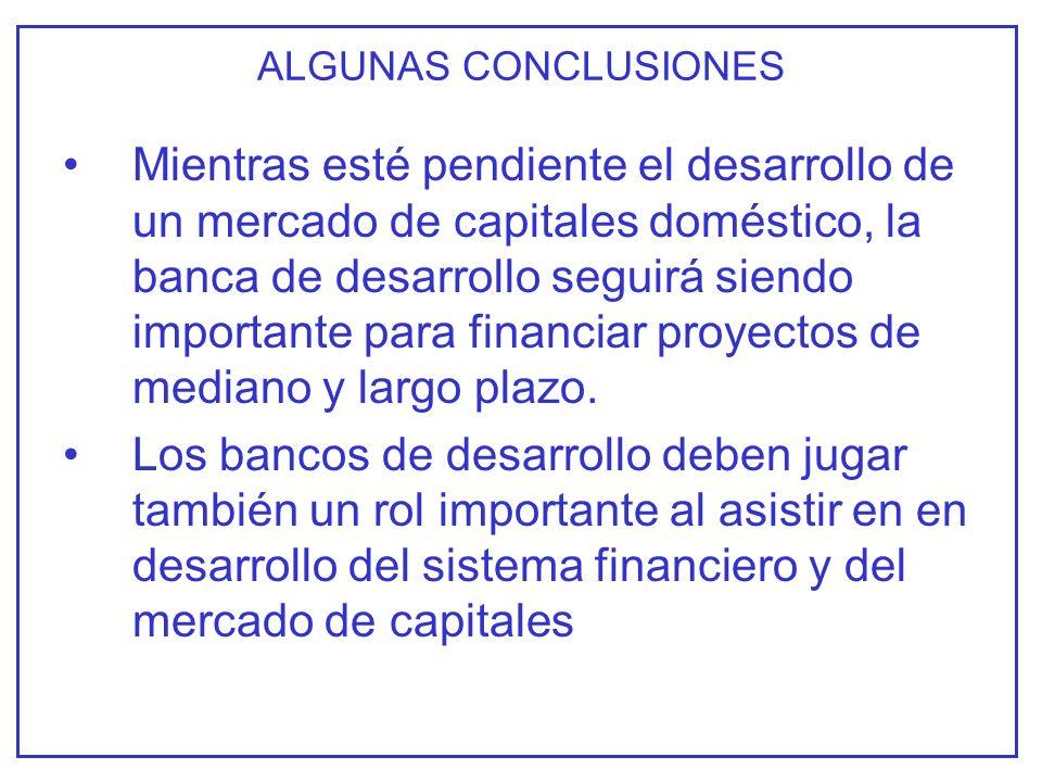 ALGUNAS CONCLUSIONES Mientras esté pendiente el desarrollo de un mercado de capitales doméstico, la banca de desarrollo seguirá siendo importante para financiar proyectos de mediano y largo plazo.