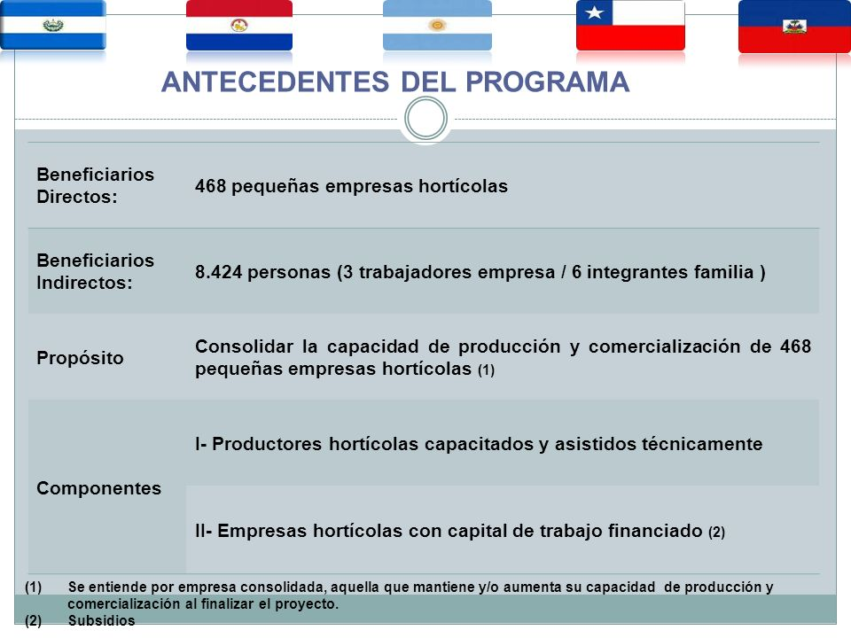 Beneficiarios Directos: 468 pequeñas empresas hortícolas Beneficiarios Indirectos: 8.424 personas (3 trabajadores empresa / 6 integrantes familia ) Propósito Consolidar la capacidad de producción y comercialización de 468 pequeñas empresas hortícolas (1) Componentes I- Productores hortícolas capacitados y asistidos técnicamente II- Empresas hortícolas con capital de trabajo financiado (2) ANTECEDENTES DEL PROGRAMA (1)Se entiende por empresa consolidada, aquella que mantiene y/o aumenta su capacidad de producción y comercialización al finalizar el proyecto.