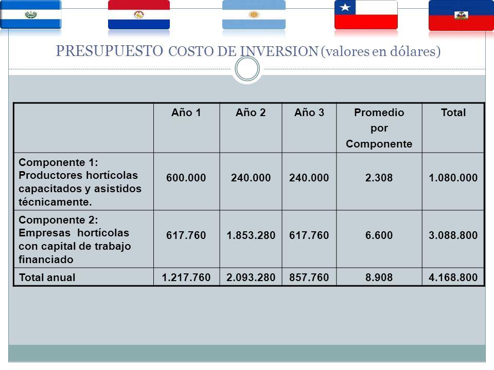 PRESUPUESTO REQUERIDO (valores en dólares) Presupuesto asignado = US$ 3.003.000 Presupuesto solicitado = US$ 4.168.800 Solicitud adicional = US$ 1.165.800