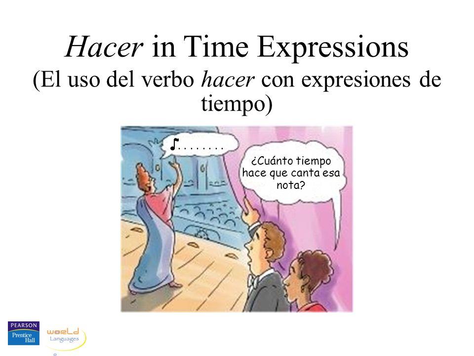 Hacer in Time Expressions (El uso del verbo hacer con expresiones de tiempo) ¿Cuánto tiempo hace que canta esa nota?....