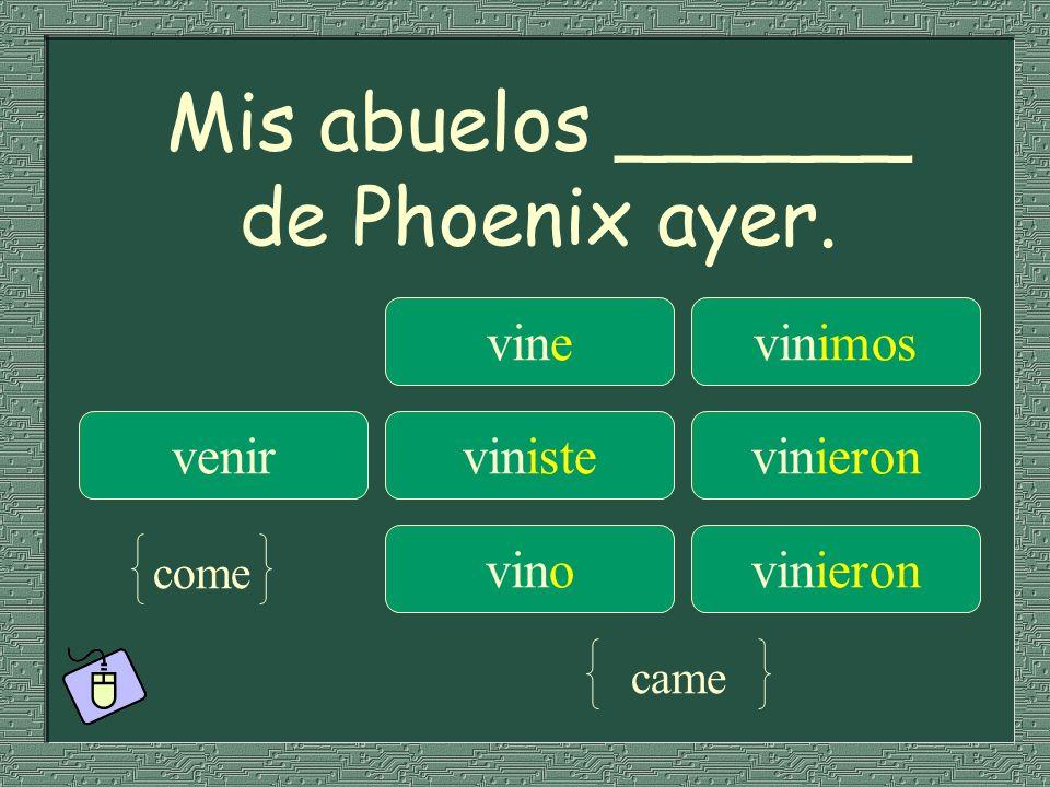 Mis abuelos ______ de Phoenix ayer. vinevinimos venirvinistevinieron vinovinieron come came