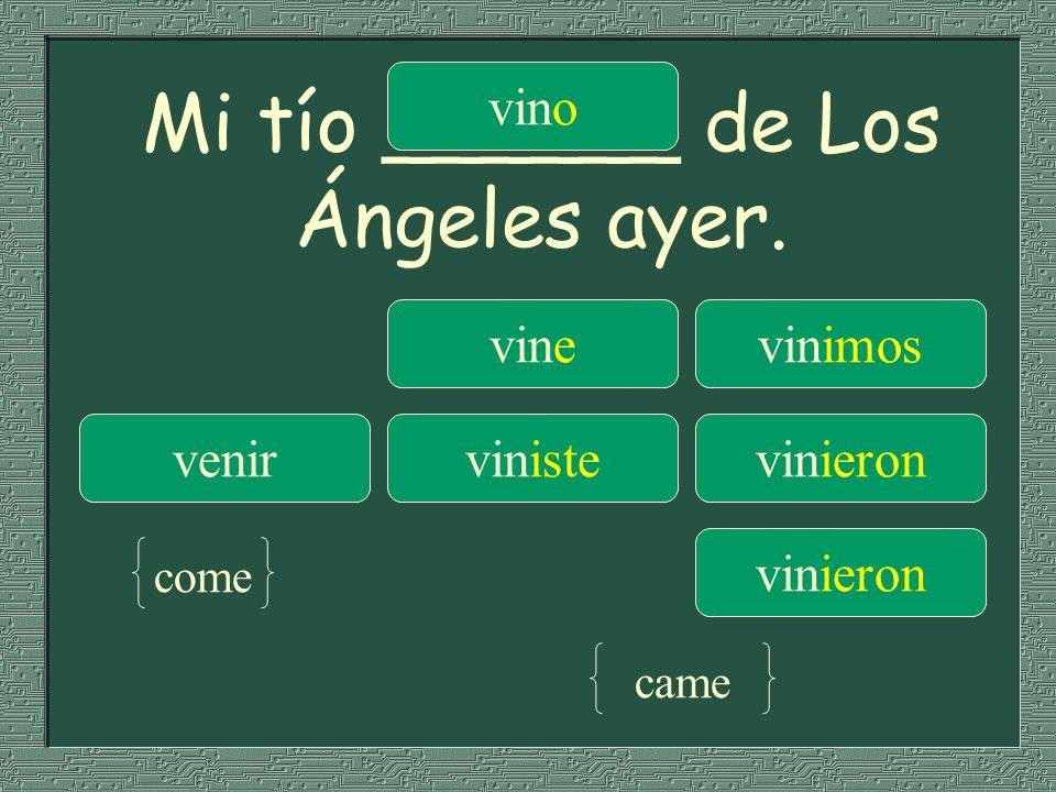 Mi tío ______ de Los Ángeles ayer. vinevinimos venirvinistevinieron vino vinieron come came