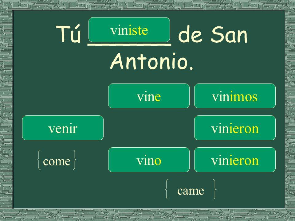 Tú ______ de San Antonio. vinevinimos venir viniste vinieron vinovinieron come came