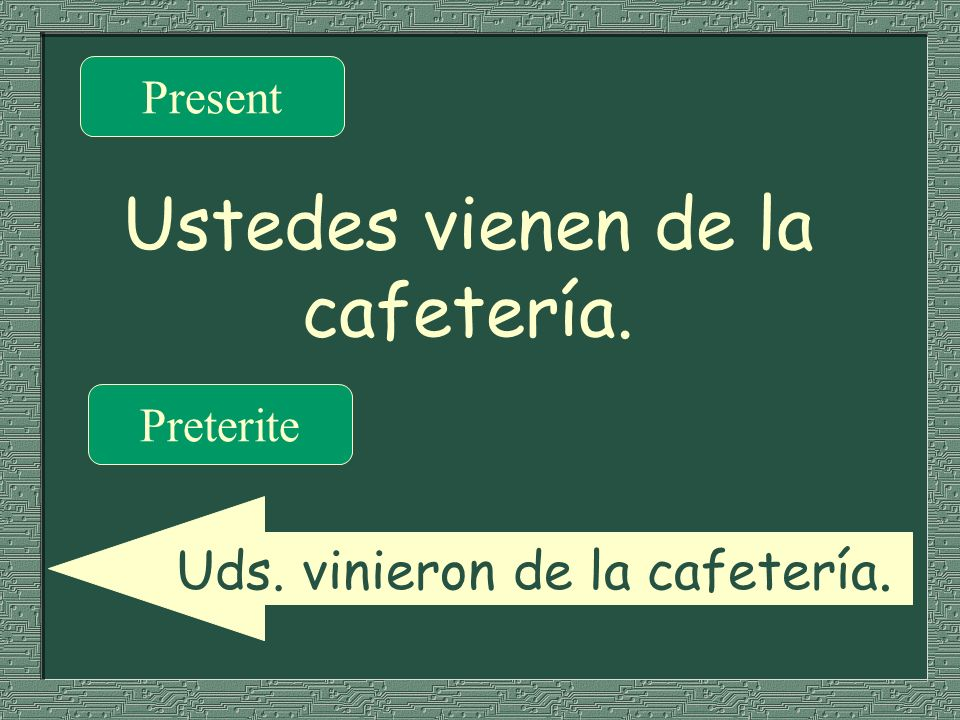 Ustedes vienen de la cafetería. Present Preterite Uds. vinieron de la cafetería.